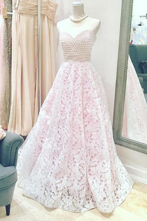 bb663c610e1f Sweetheart Pink Lace Floor Length Wedding Dress with Pearl Beaded – Modcody  #sweetheartneckline #ballgown #promdresseslong #graddresses #pinklacedresses
