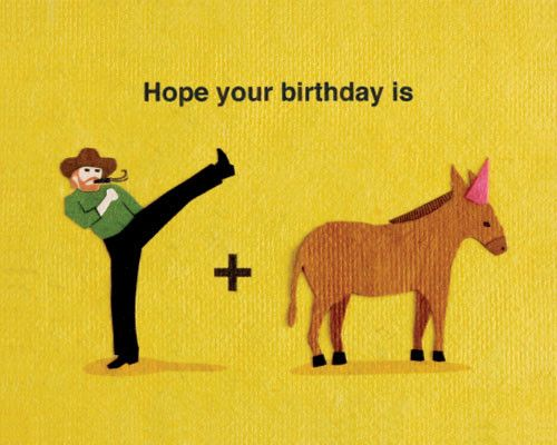 "Our ""Kick Donkey Birthday"" card is lovingly handcrafted in the Philippines by women survivors of sex trafficking. The card incorporates a variety of handmade, recycled papers, making it environmentall"