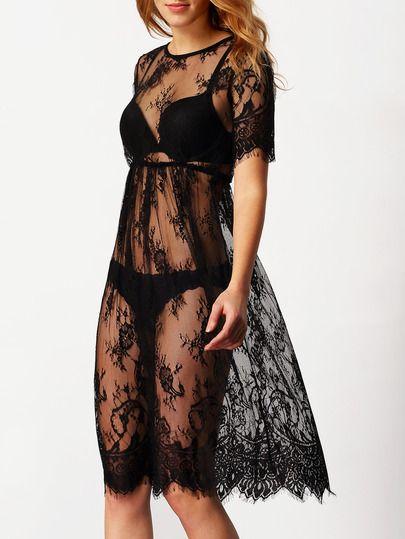 robe dentelle manches courtes -noir -French SheIn(Sheinside)