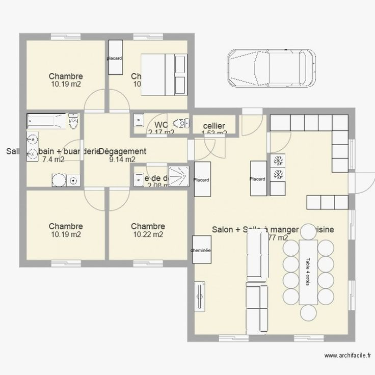 Maison 130m2 plan plain pied 4 chambres from Plan Maison Plain Pied 200m2 en 2020   Plan maison ...