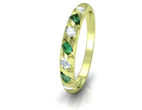 VIOLETA GOLDIE EMERALD - Wedding Ring FOR HER - LucyDiamonds.cz - 14k yellow gold, diamonds and emeralds