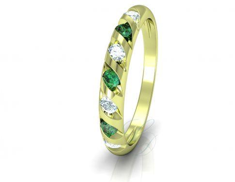 VIOLETA GOLDIE EMERALD - Wedding Ring FOR HER - LucyDiamonds.cz - 14k yellow gold, diamonds and emeralds
