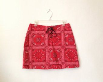 Red Bandana Print Mini skirt with lace up front