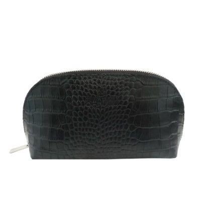 BANDHU black croco leather toilet bag pouch