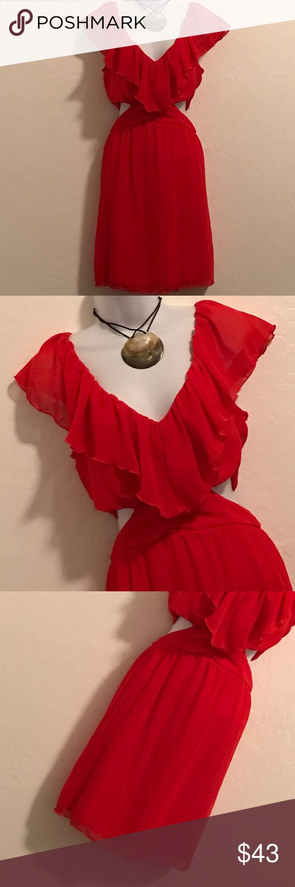 WOT Red Ruffle Cocktail Dress Never Worn, Oh la la, this one is gorgeous, open side, gather front, visible gold back zipper, ruffle top, lined, above knee length. This is a must have. Will be the attention getter at any cocktail party . All you need is some heels  Wet Seal Dresses