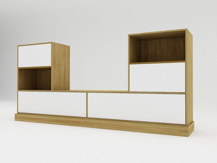 Minimalist modern furniture - Lemari TV Minimalis Shape U - White Elegant Teak