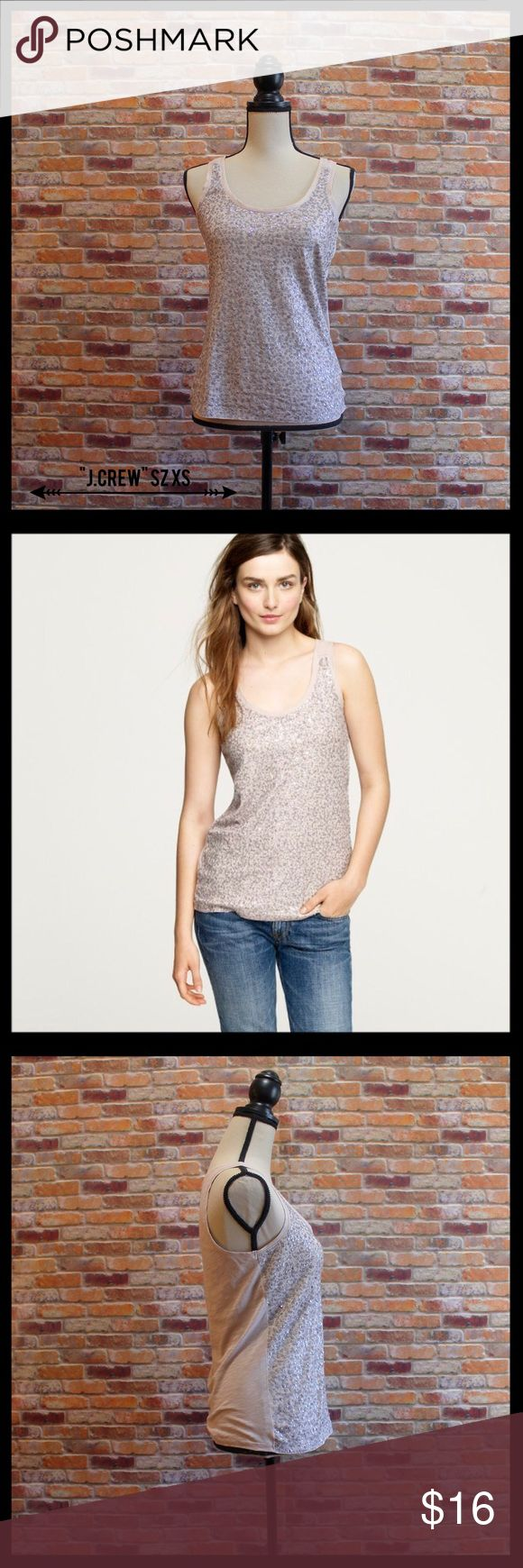 """J. Crew Sequin Tank J. Crew sequin tank in an XS.  Front is covered in sequins.  Back is cotton.  Measures 17"""" from armpit to armpit and 25"""" in length.  100% cotton. In like new condition. J. Crew Tops Tank Tops"""