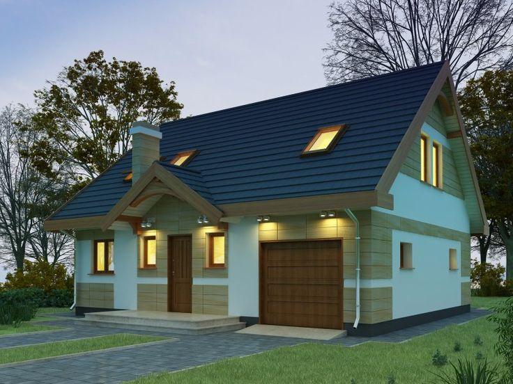Mały parterowy domek z użytkowym poddaszem i wbudowanym garażem. Prosty i niedrogi w budowie. Adresowany jest dla 4 osobowej rodziny.