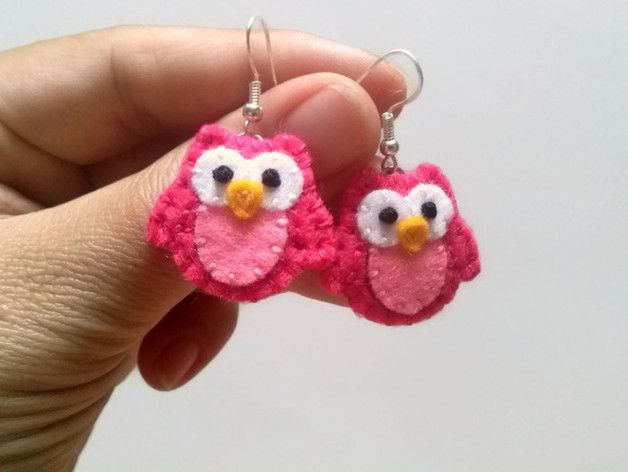Pink Owl Earrings, Wool felt owl earrings, Owl Dangle Earrings, Animal Earrings…