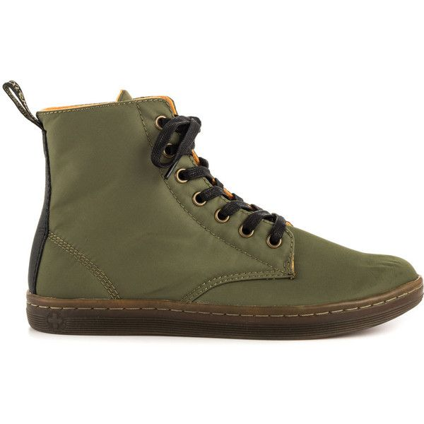 Dr Martens Women's Hackney - Khaki Blk Avtr Nyln Game featuring polyvore fashion shoes boots ankle booties green lacing boots khaki shoes green boots dr martens shoes lace front boots