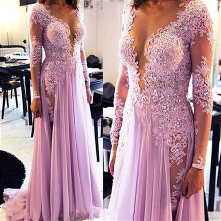 Long Sleeves Lace Sexy See Through Deep V Neck Side Split Evening Long Prom Dress, PD0199