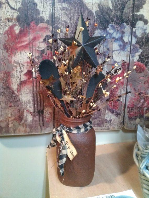 PRIM Grubby Quart Mason Jar with Fixin's by KaseySimplyPrimitive