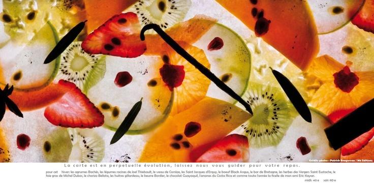 Carte du Restaurant L'Acajou. Chef Jean Imbert - Gagnant de TOP CHEF 2012