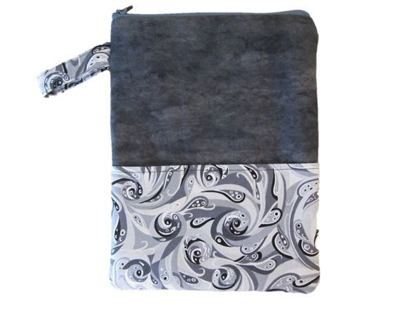 Tablet Cover, Gadget Cover, Zipped Bag, Book Cover, Padded Pouch, Grey and White Pattern, by BobbyandMeSew on Etsy