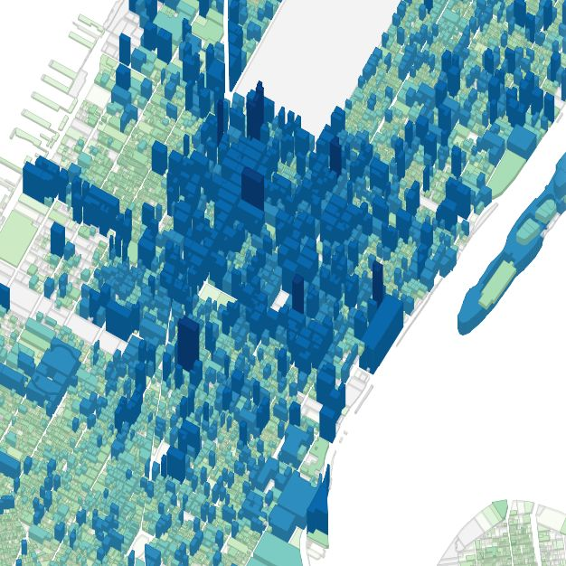 Building height of Manhattan. A map from the PLUTO data tour, http://andrewxhill.github.io/cartodb-examples/scroll-story/pluto/index.html#4