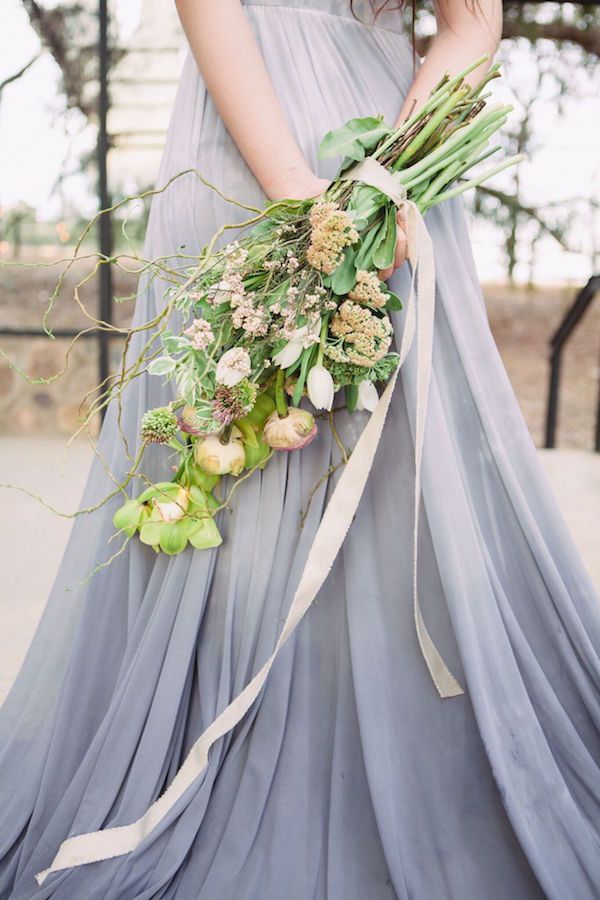Organic Bouquet and Grey Ombre Wedding Gown | Dust and Dreams Photography