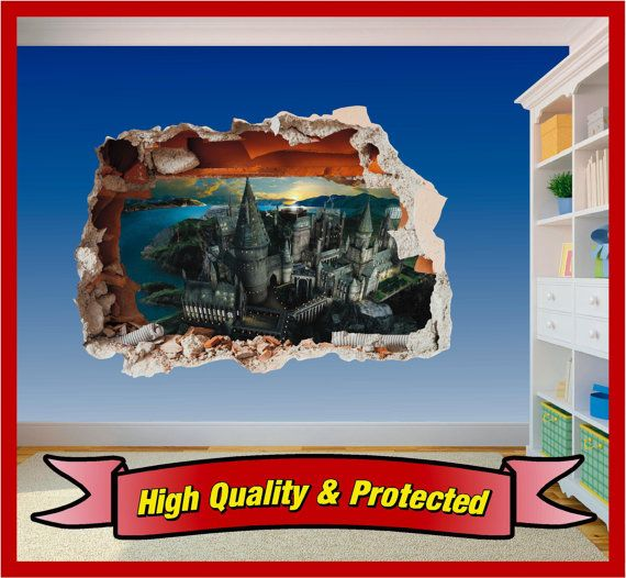 Harry Potter Hogwarts Castle Hole in Wall Art Stickers Decal Childrens Bedroom Boys and Girls