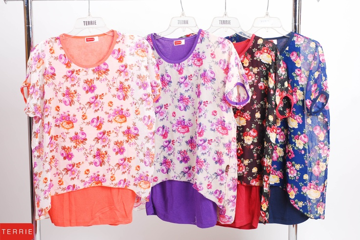 TERRIE WOMAN: BLOUSE    CODE NAME: PAPARS F    COLOR: ORANGE, VIOLET, RED & BLUE    SIZE: FREE SIZE    PHP 820    www.terrieonline.com