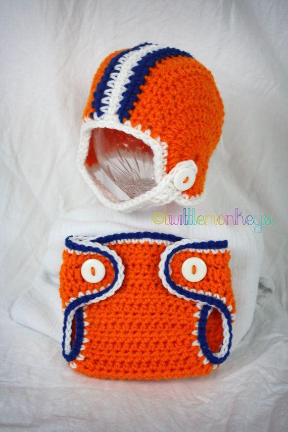 Newborn Crochet Football Helmet Diaper Cover Set