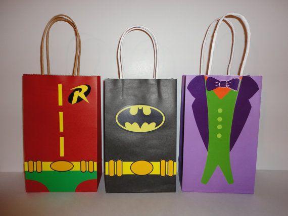 Unique Batman Robin and Joker Favor/Party Bags. Make your own Batman Birthday Party Favors/ Favor Bags. Digital File - Printable