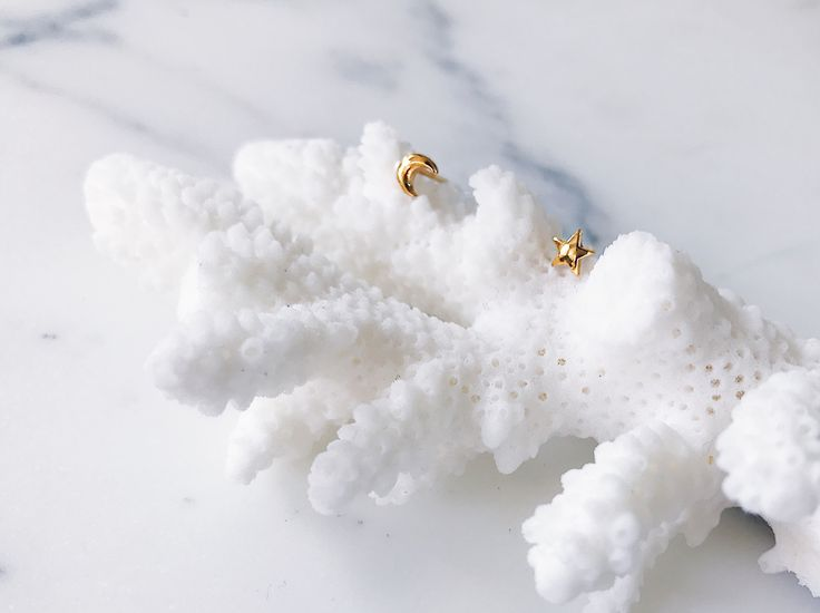 Star moon micro ear studs in gold - Tiny celestial magic studs that dot the ear lobes - Simple and subtle, perfect for stacking. Click to shop micro ear studs now.