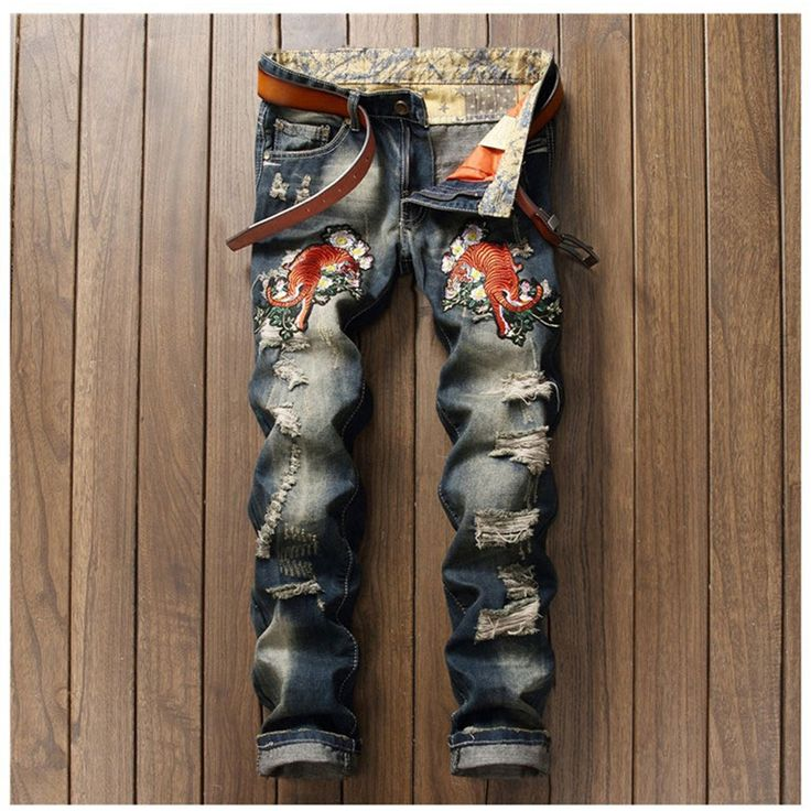 29.23$  Buy here - Tigher Embroidered Mens Ripped Jeans Brand Slim Straights Patches Vintage Designer Jeans Men Brand 2017 Punk Hip Hop Pants   #buyonlinewebsite