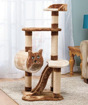 4ft multilevel cat tower with scratchers