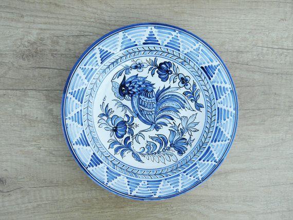 Cock and flower motive Dinner Plate Ceramic Dinner by HabanCeramic, $59.00
