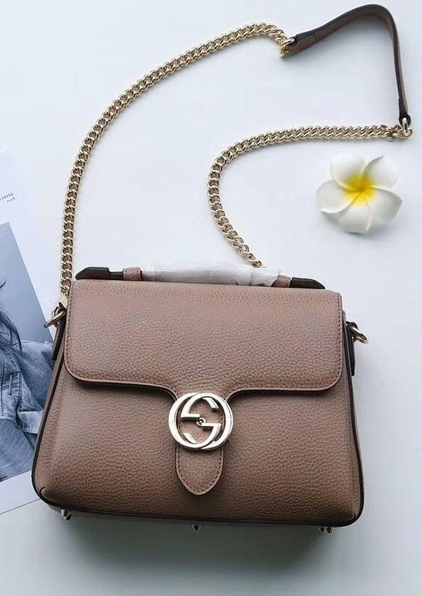 1165b76caca Gucci Interlocking G Buckle Convertible Chain Tan Leather Cross Body Bag is  super-luxury