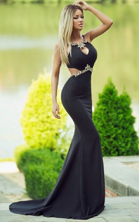 2017 Charming Black Prom Dress,Sexy Tight Evening Dress, Beading Prom Dress with Train,Long Prom Dresses