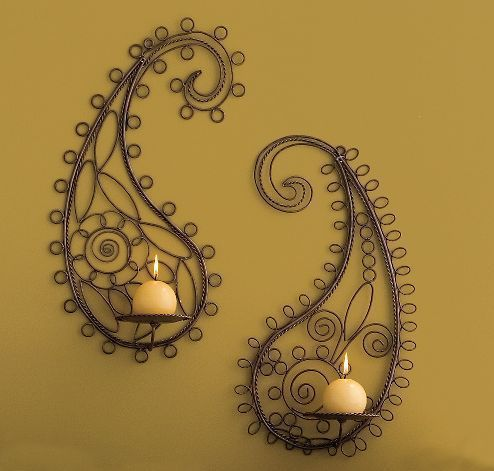 OMG I would love these for my hallway!Wall Art, Wall Decor, Wall Hanging, Candle Holders, Candles Holders, Paisley Design, Home Decor, Wall Sconces, Candles Sconces