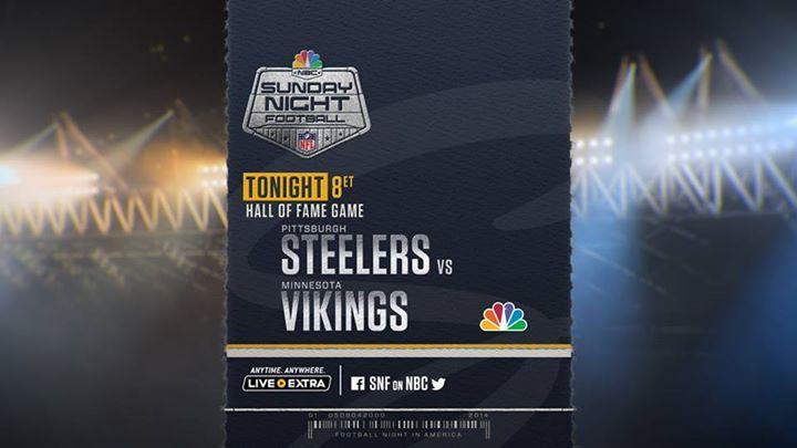 The Pittsburgh Steelers vs. the Minnesota Vikings tonight at 8 p.m. on Sunday Night Football on NBC!