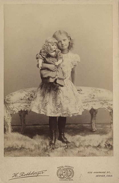 +~+~ Antique Photograph ~+~+  Beautiful Girl and her Doll