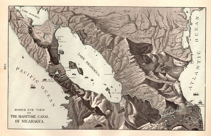 1901 Antique NICARAGUA CANAL Map Vintage Maritime Canal Map Gallery Wall 4484