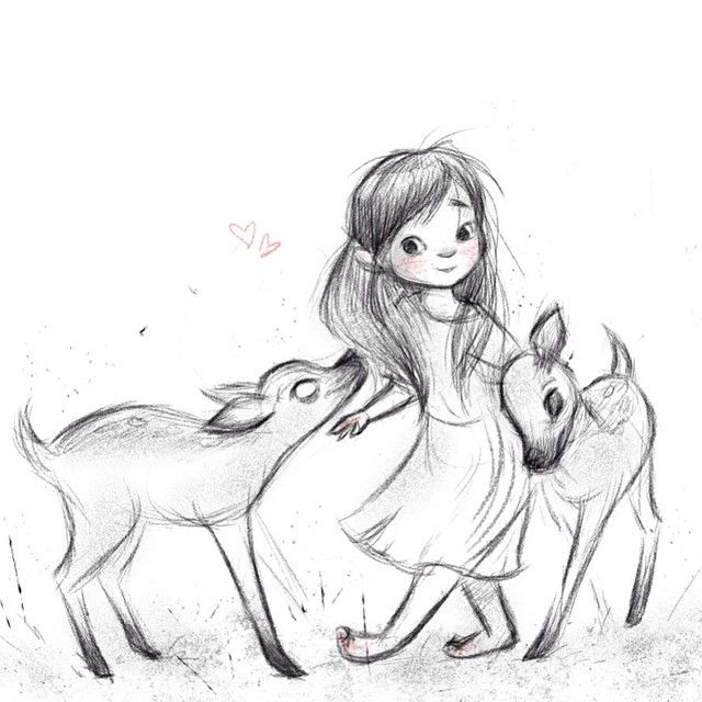 Sketch of a little girl and deer.
