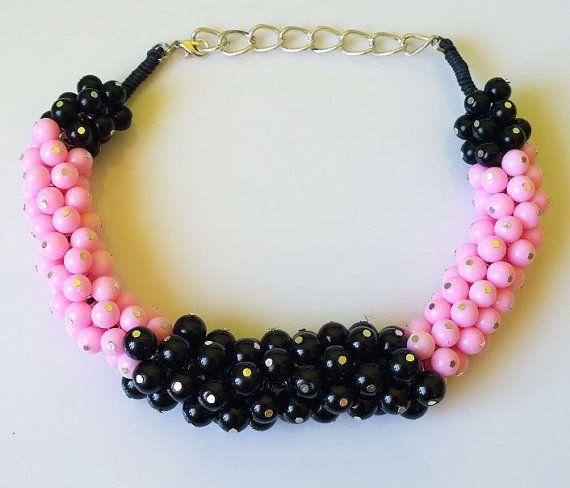 Light black-pink handmade neckalce by EmilyArtHandmade on Etsy