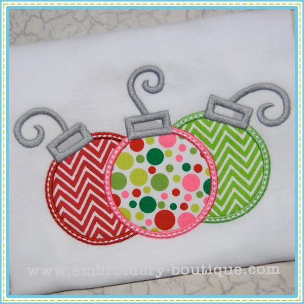 christmas applique designs   Ornaments Applique