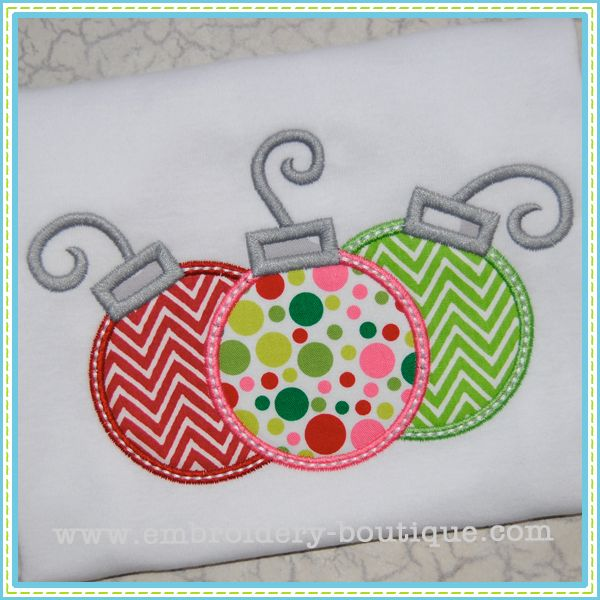 christmas applique designs | Ornaments Applique