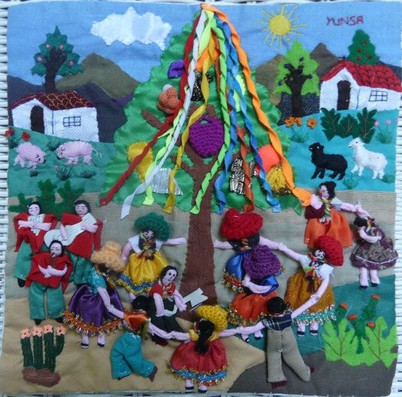 Vintage 1980 Arpillera Hand Embroidered and Applique Peru Scene Celebrating May Day Musician May Pole Dancers Animals, Plants Village Life