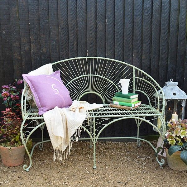 Metal Garden Bench - available from MiaFleur