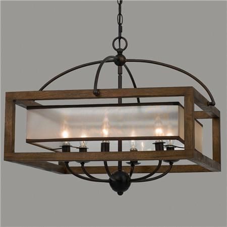 Square Wood Frame and Sheer Chandelier - 6 Light