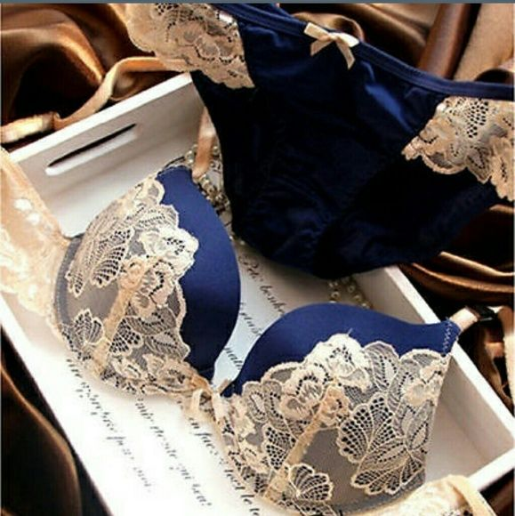 "VS Hot Bra & Panty Set Listing Victoria's Secret Bra & Panty Set - 36B, Small panties measuring 11 3/4"" across, Push up bra, Color - Blue and cream. New in package Victoria's Secret Intimates & Sleepwear Bras"