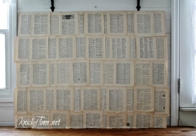 DIY Book Page Backdrop - Easy -- Headboard?  Knick of Time