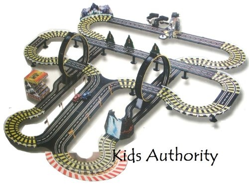 kids authority life like mega track set slot car racing set 40 ft of