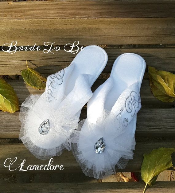Brides Wedding Slippers Honeymoon slippers  Velour by LAMEDORE