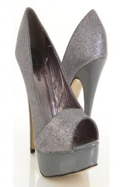 pewter glitter heels