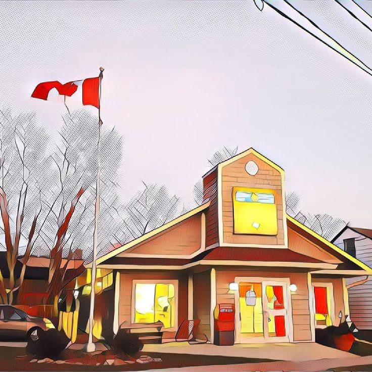 Flag #142 of 150 taken of the #CanadaPost office in Ayr Ontario for my #Canada150 photos. . . . . . #ayrontario #ayr #canada #paris #postoffice #ontario #prismacolor #prisma