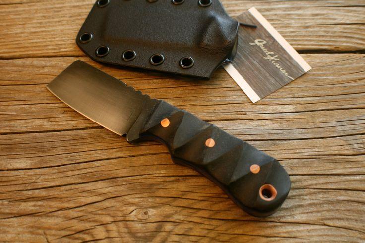 EDC Belt Cleaver 1084 steel Black Micarta Handle, w/ Kydex sheath !Sale! see description for details. by JaredKramerStudios on Etsy