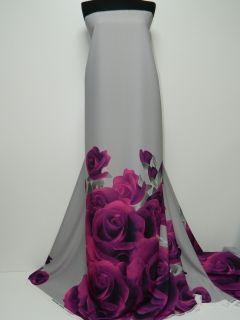 Triplu voal gri subtire imprimat digital cu bordura trandafiri mov