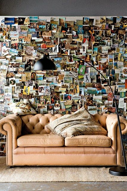 Into an #eclectic look? This #photo wall is perfect for you! Take snapshots of times with family & friends and postcards from your adventures for a great statement wall in any #room of your home.